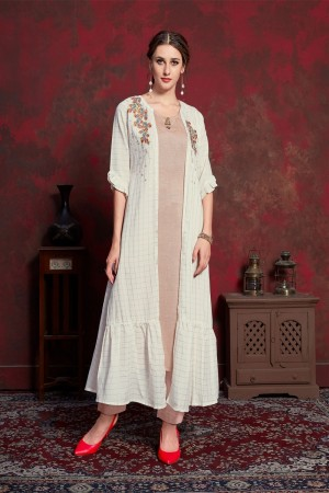 Cream & Rust Pure muslin & Mulayam fancy Fabric Kurti with Shrug