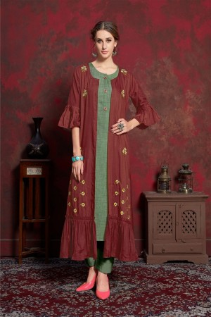 Maroon & Green Pure muslin & Mulayam fancy Fabric Kurti with Shrug