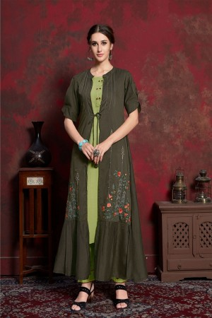 Pine & Olive Pure muslin & Mulayam fancy Fabric Kurti with Shrug