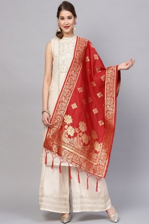 Red Banarasi Silk Dupatta