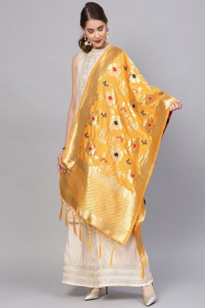 Yellow Banarasi Silk Dupatta