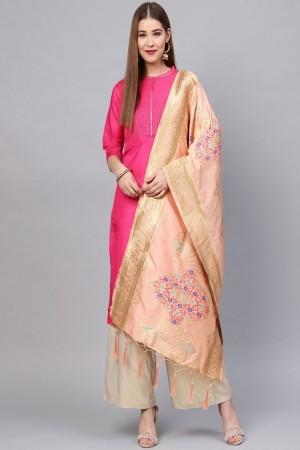 Peach Banarasi Silk Dupatta