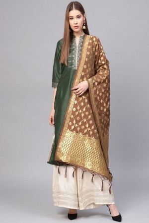 Coffee Banarasi Silk Dupatta