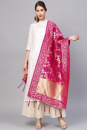 RaniPink Banarasi Silk Dupatta