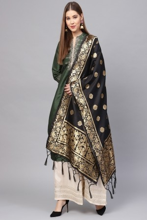 Black Banarasi Silk Dupatta
