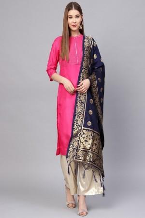Navy Blue Banarasi Silk Dupatta