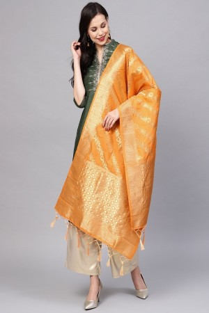 Mustard Banarasi Silk Dupatta