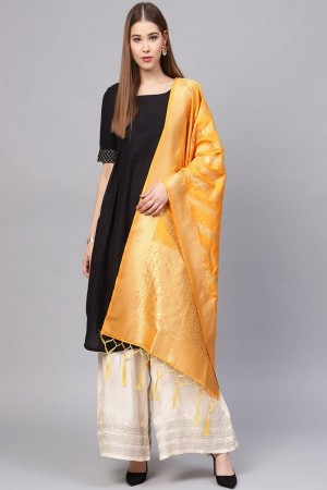 Yellow Banarasi Silk Dupatta