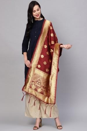 Maroon Banarasi Silk Dupatta