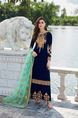 Blue Georgette Plaazo Suit