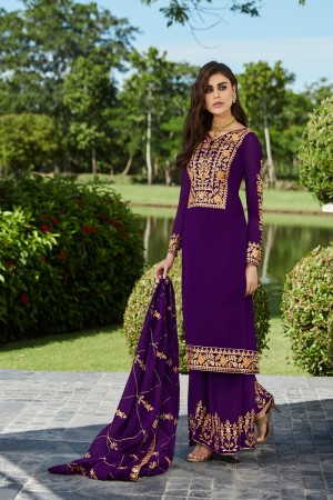 Purple Georgette Plaazo Suit