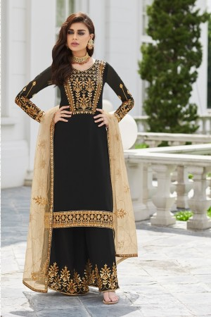 Black Georgette Plaazo Suit