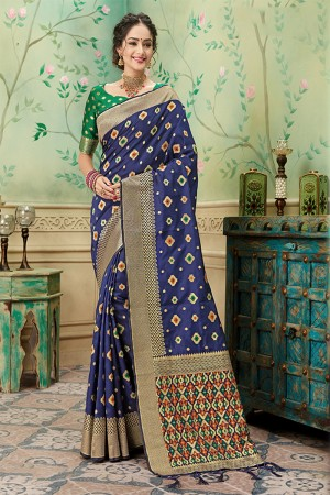 Blue Banarasi Silk Saree with Blouse