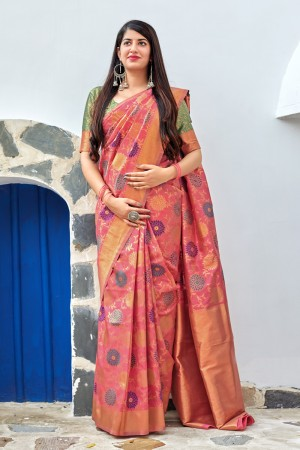 Peach Banarasi Silk Saree with Blouse