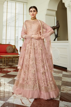 Peach Net Anarkali Suit