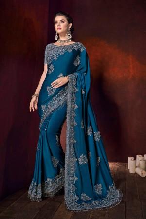 Blue Satin Saree with Blouse