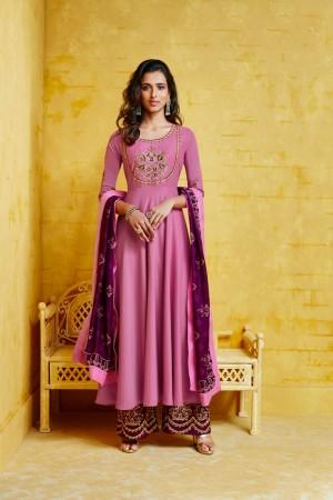 Pink Musline Plaazo Suit