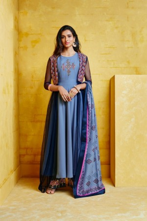 Blue Musline Plaazo Suit