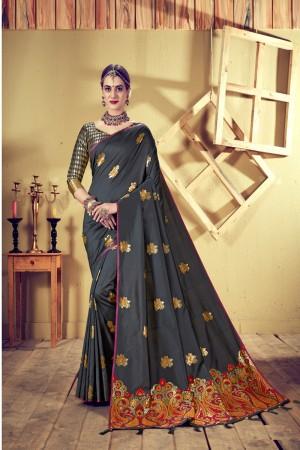 Dark Grey Top Dyed Silk Saree with Blouse