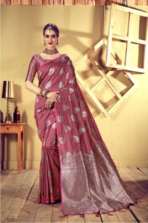 Pink Top Dyed Silk Saree with Blouse