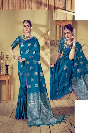 Blue Top Dyed Silk Saree with Blouse