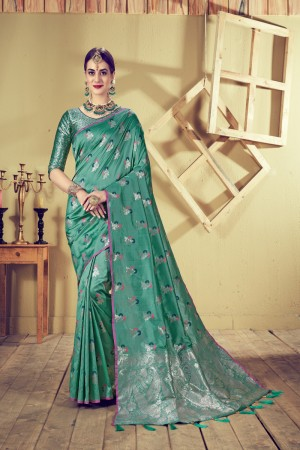 Bottle Green Top Dyed Silk Saree with Blouse