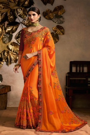 Orange Rangoli Saree with Blouse