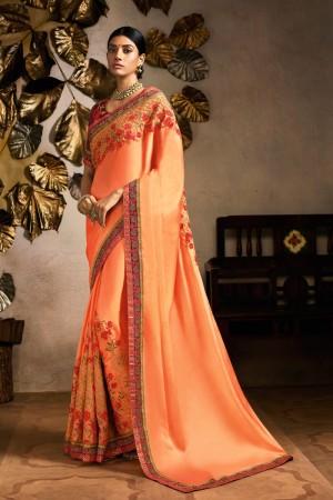 Peach Rangoli Saree with Blouse
