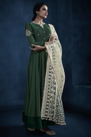 jennifer winget Dark Green Silky Georgette Salwar Kameez