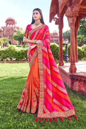 Orange & Rani Pink Silk Saree with Blouse