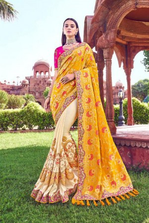 Yellow & Rani Pink Silk Saree with Blouse