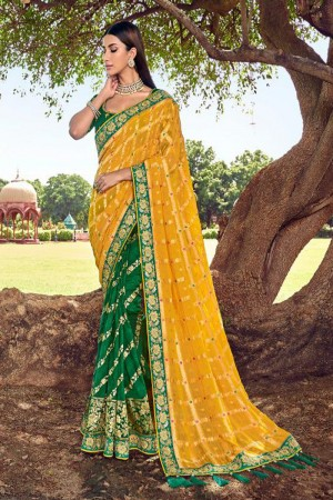 Green & Yellow Silk Saree with Blouse