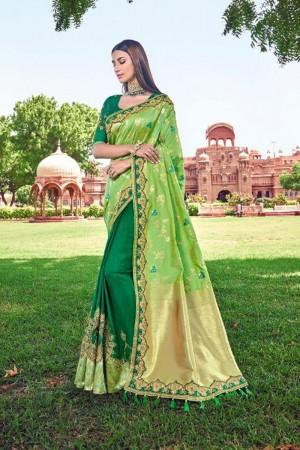Liril & Dark Green Silk Saree with Blouse