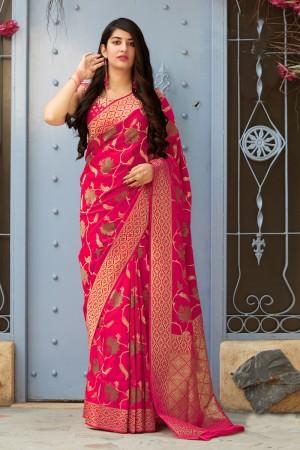 RaniPink Banarasi Silk Saree with Blouse