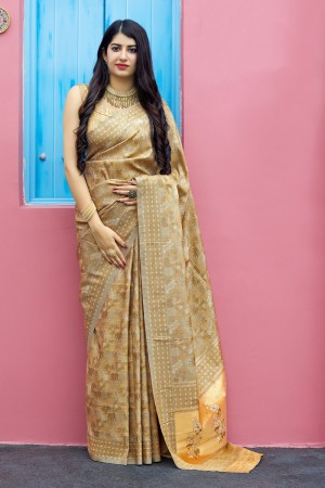 Beige Tanchoi Silk Saree with Blouse