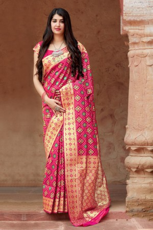 RaniPink Banarasi Patola Silk Saree with Blouse