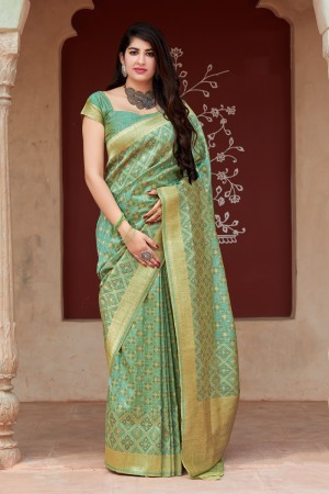 Pista Tussar Silk Saree with Blouse