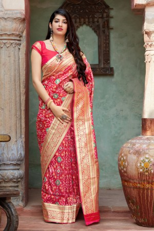 Light Maroon Banarasi Tissue patola Saree with Blouse