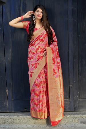 Pink & Red Banarasi Satin Saree with Blouse