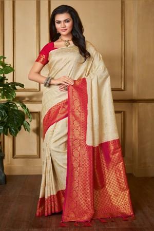 Cream Banarasi Silk Saree with Blouse