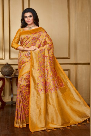 Mustard Banarasi Silk Saree with Blouse