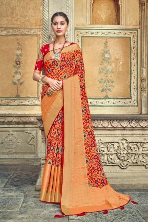 Light Orange Banarasi Silk Saree with Blouse