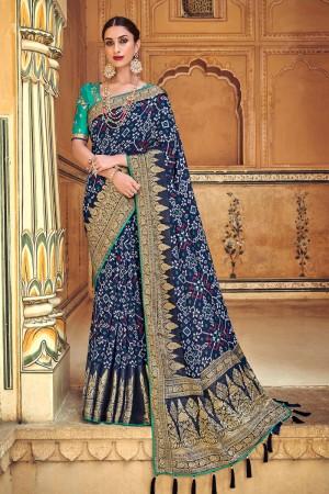 Dark Blue Banarasi Silk Saree with Blouse