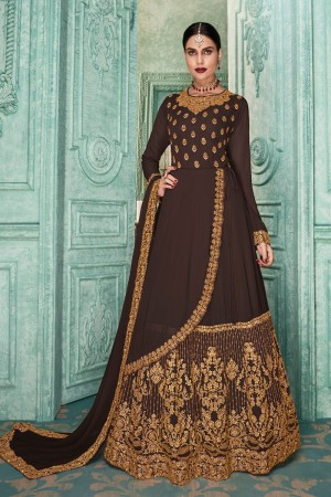 Brown Georgette Anarkali Salwar Kameez