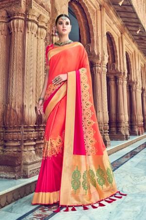 Orange & Rani Pink Banarasi Silk Saree with Blouse