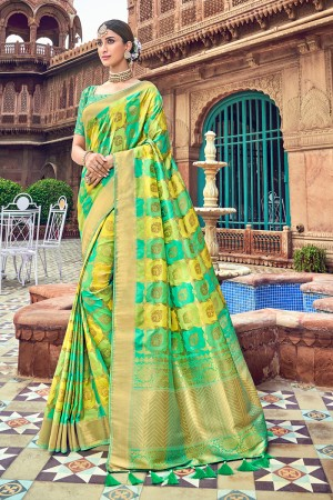 Rama & Lime Banarasi Silk Saree with Blouse