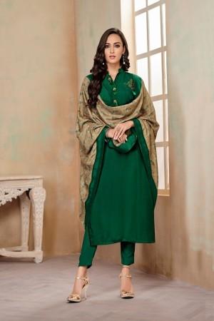 Green Jam Cotton Churidar Suit