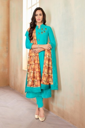 SkyBlue Jam Cotton Churidar Suit