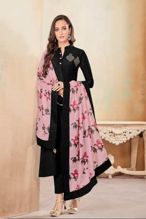 Black Jam Cotton Churidar Suit