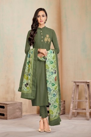 Mehendi Jam Cotton Churidar Suit